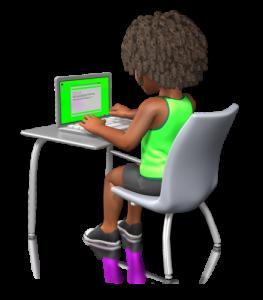 AD(H)S Kind sitzt mit großer Aufmerksamkeit am Handy, Tablett, Laptop